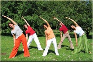 Trikonasana Dreieck mehrere Gruppe Natur Yoga Asana